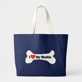Grand Tote Bag J'aime mon Sheltie - os de chien