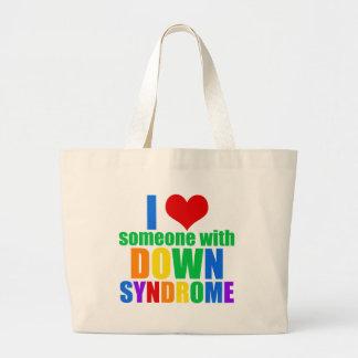 Grand Tote Bag J'aime quelqu'un avec syndrome de Down