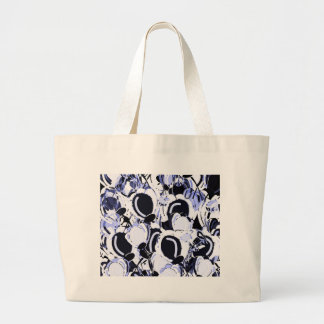 Grand Tote Bag Jardin floral abstrait de bleu