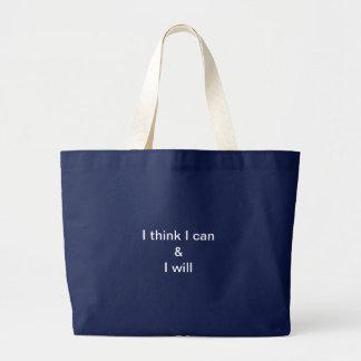 Grand Tote Bag Je pense que je peux et je vais le faire