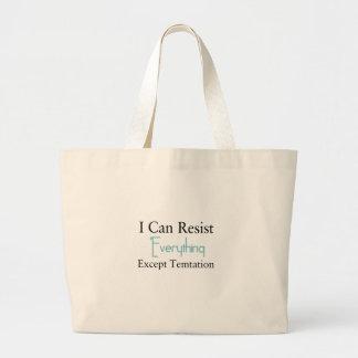 Grand Tote Bag Je peux résister à tout excepté la tentation