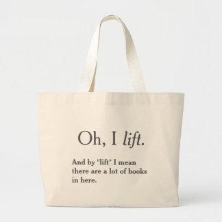 Grand Tote Bag Je soulève des livres