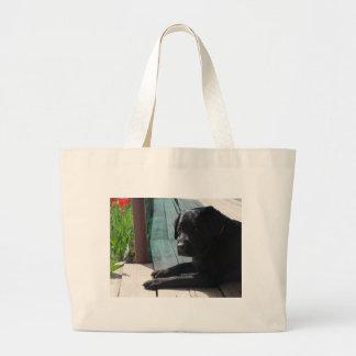 Grand Tote Bag Labrador retriever noir personnalisable