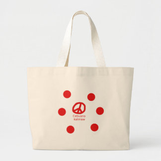 Grand Tote Bag Langue de Cebuano et conception de symbole de paix