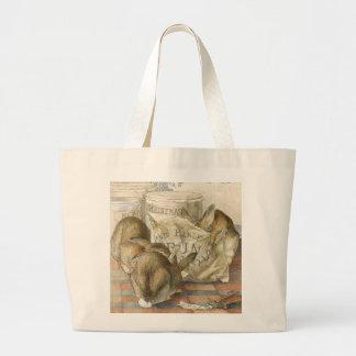 Grand Tote Bag Lapins de Joyeux Noël illustrés