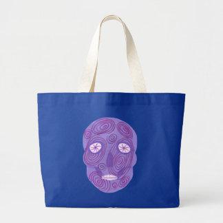 Grand Tote Bag Le crâne pourpre de sucre avec le rose