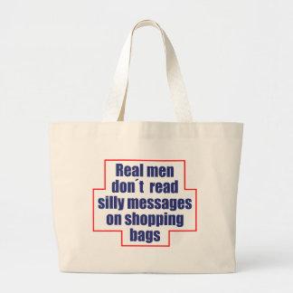 """Grand Tote Bag Le """"vrai don´t d'hommes a lu des messages sur des"""