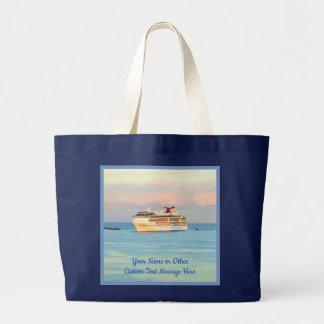 Grand Tote Bag Lever de soleil en pastel avec le bateau de