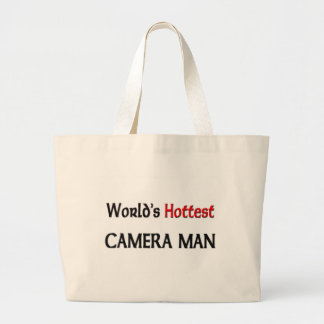 Grand Tote Bag L'homme d'appareil-photo le plus chaud des mondes