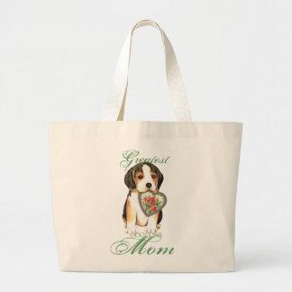Grand Tote Bag Maman de coeur de beagle