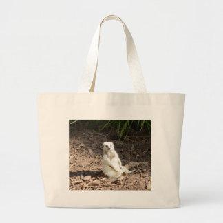 Grand Tote Bag Meerkat blanc effronté,