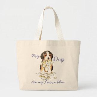 Grand Tote Bag Mon beagle a mangé mon plan de cours