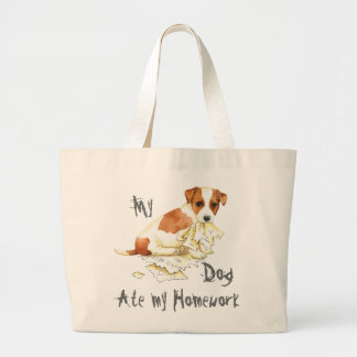 Grand Tote Bag Mon Russell Terrier a mangé mon travail