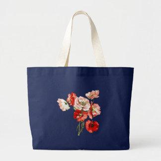 Grand Tote Bag Monogramme de fleur sauvage de pavot