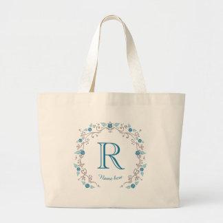 Grand Tote Bag Monogramme turquoise élégant