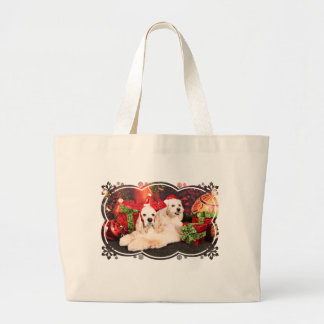 Grand Tote Bag Noël - cocker - Toby, Havanese - peu de T