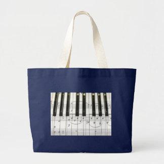 Grand Tote Bag Notes de clavier et de musique de piano