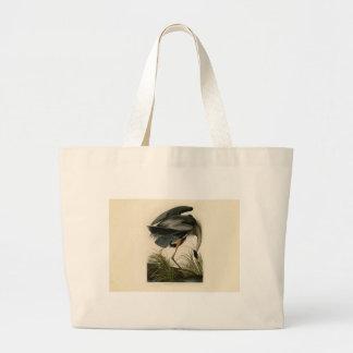 Grand Tote Bag Oiseaux de héron de grand bleu d'Audubon