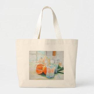 Grand Tote Bag Oranges et eau Fourre-tout de lis