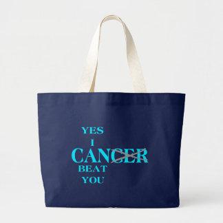 Grand Tote Bag Oui je peux battre le bleu de Cancer