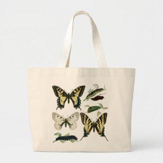 Grand Tote Bag Papillons et chenilles colorés