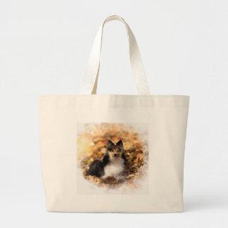 Grand Tote Bag Peinture d'art de chien de berger de Sheltie