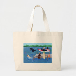 Grand Tote Bag Peinture de Labradors d'amusement de lac