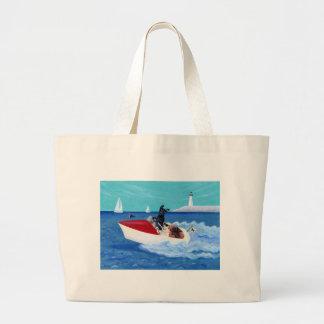 Grand Tote Bag Peinture fraîche de Labradors d'été
