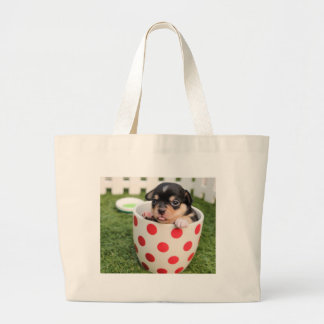 Grand Tote Bag Petit chienchien dans la tasse