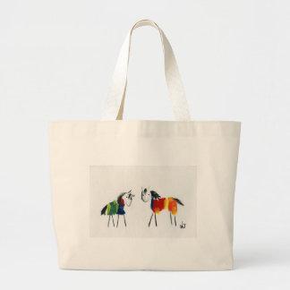 Grand Tote Bag Peu de poneys d'arc-en-ciel