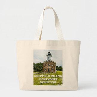 Grand Tote Bag Phare d'île de Sheffield, le Connecticut