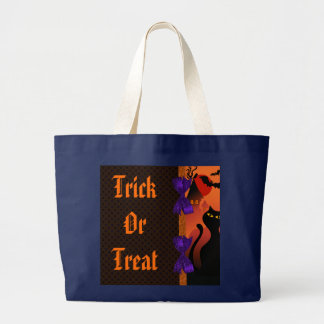 Grand Tote Bag Point de polka Halloween noir pourpre orange