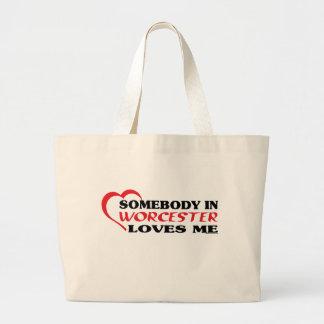 Grand Tote Bag Quelqu'un à Worcester m'aime