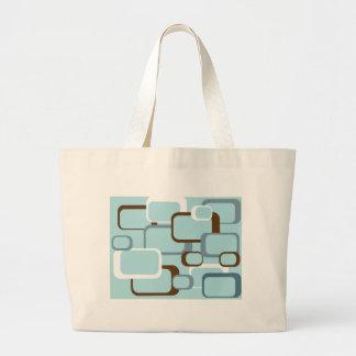 Grand Tote Bag rétros carrés blancs bruns bleu-clair