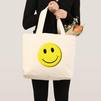 Grand Tote Bag Sourire jaune lumineux de rétro visage souriant