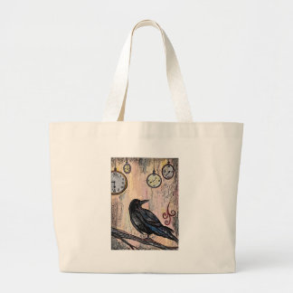 Grand Tote Bag Steampunk Raven avec des horloges