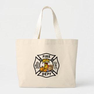 Grand Tote Bag Thanksgiving de sapeur-pompier