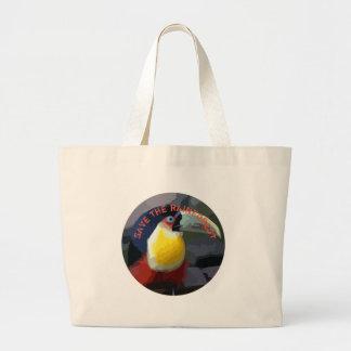 Grand Tote Bag Toucan, oiseau exotique