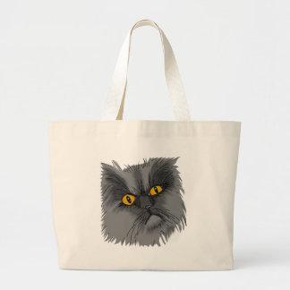 Grand Tote Bag Un vecteur grincheux de chat