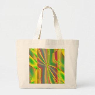 Grand Tote Bag Vert métallique de néon de citron de bloc moderne