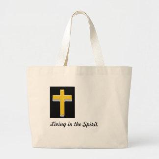 Grand Tote Bag Vie dans la croix de chrétien de citation d'esprit