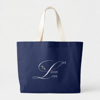 Grand Tote Bag Vivant, rire, aimez les mots inspirés et gaffez