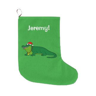 Grande Chaussette De Noël Alligator dans un casquette de Père Noël