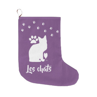 Grande Chaussette De Noël bas nommé fait sur commande de chat de couleur