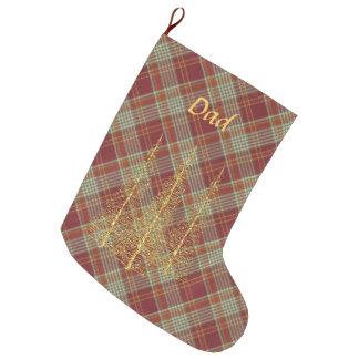 Grande Chaussette De Noël Bas rouge de Noël d'arbres d'or de plaid de
