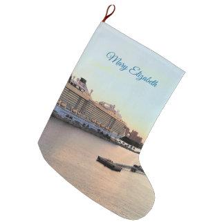 Grande Chaussette De Noël Bateau de croisière d'aube de port de Nassau