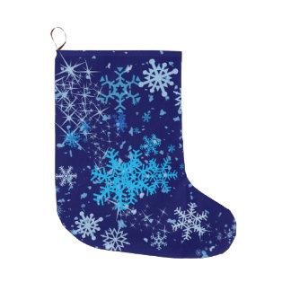 Grande Chaussette De Noël Chutes de neige de nuit de Noël