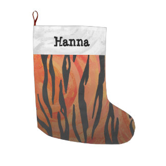 Grande Chaussette De Noël Copie orange de tigre et noire chaude