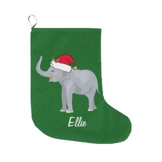 Grande Chaussette De Noël Éléphant mignon de Noël