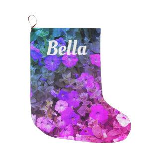 Grande Chaussette De Noël Fleurs florales roses pourpres Girly nommées de